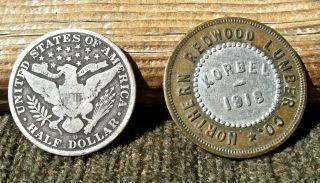 Ca 1918 Korbel California (humboldt Co) Scarce R7