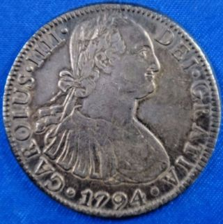 1794 Mexico 8 Reales Silver Coin Carolus Iiii Dei Gratia photo