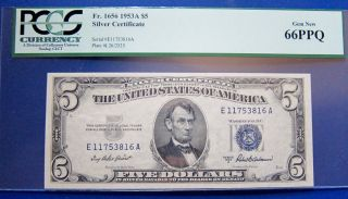 $5 1953a Silver Certificate Fr.  1056 Pcgs66 Gem Uncirculated photo