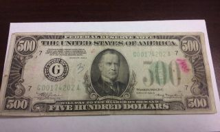 1934 - A Series $500 Mckinley Chicago Frn Federal Reserve Note Circulated Bill photo