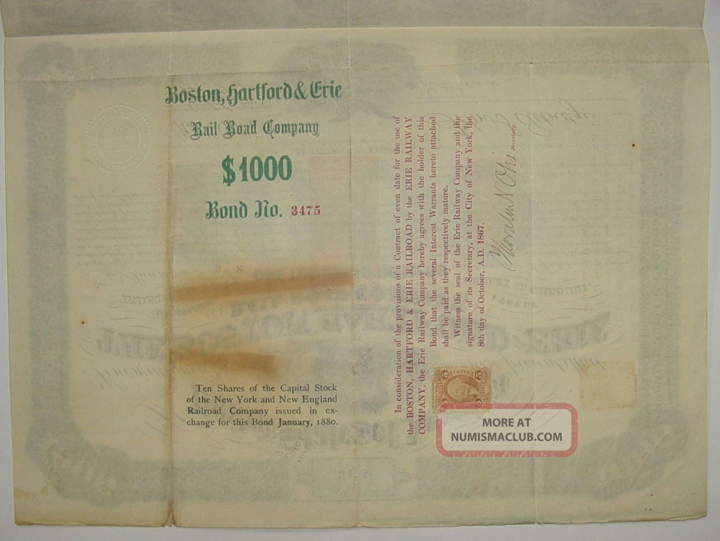 1867 Boston Hartford & Erie Railroad Company Bond Stock Certificate 61 Coupons Transportation photo