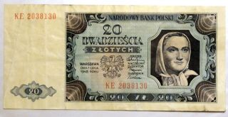 Poland 20 Zlotych (1948) Bank Note photo