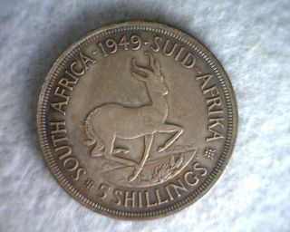 South Africa 5 Shilling 1949 Large Silver British Coin (stock 0642) photo