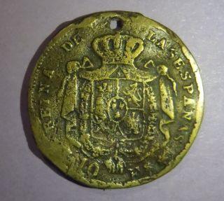 Spain Medal 1868 Queen Isabel 10 Escudo Contemporary Jetton Brass 4.  68g photo