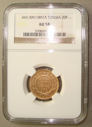 1892a French Protectorate,  Tunisia Gold 20 Francs Ngc Au58 photo