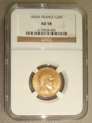 1854a Napoleon Iii French Gold 20 Francs Ngc Au58 photo