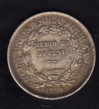 Bolivia 50 Centavos 1899 Mm,  Silver photo