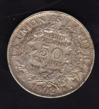 Bolivia 50 Centavos 1902 Mm,  Silver photo