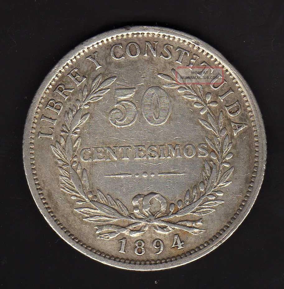 Uruguay 50 Centesimos 1894,  Silver Uruguay photo