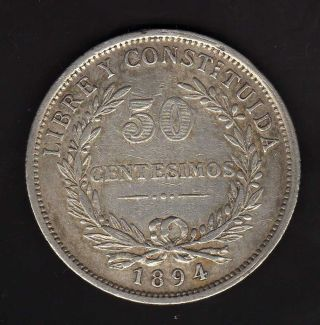 Uruguay 50 Centesimos 1894,  Silver photo