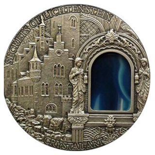 Niue 2013 2$ Secrets Of Lichtenstein Crystal Art Castle Window Silver Coin 2oz photo