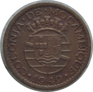 Mozambique 20 Centavos 1949 Km 75 Scarce Bronze E50 photo