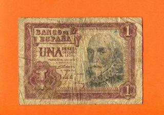 Spain 1 Pesetas 1953 Vg Banknote photo