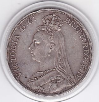1890 Queen Victoria Large Crown / Five Shilling Coin From Great Britain photo