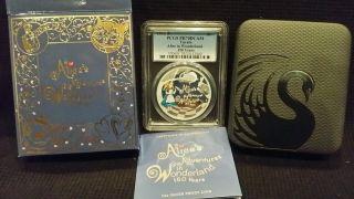 2015 Tuvalu Disney Alice In Wonderland 150 Years 1oz Silver Pcgs Pr70dcam - Rare photo