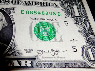 2013 $1 One Dollar Bill Unusual Odd Fancy Note Serial Number 5 - 8s Liars Poker photo