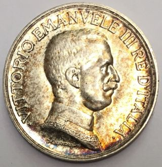 Kingdom Of Italy,  King Vittorio Emanuele Iii 1917 R Lira Silver Coin photo