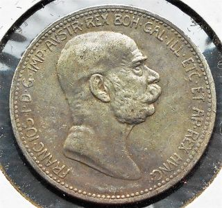 . 835 Silver 1908 Austria 1 Corona Km 2808 Franz Joseph I 60th Of Reign Pb1 photo