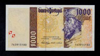 Portugal 1000 Escudos 31 - 10 - 1996 (7a) Pick 188b Unc Banknote. photo