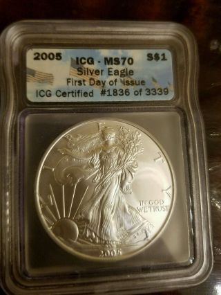 2005 Silver American Eagle Dollar $1 Icg Ms70 photo