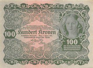 Austria 100 Kronen 2.  1.  1922 P 77 Series 1295 Uncirculated Banknote Gh14 photo