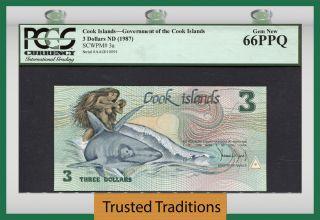 Tt Pk 3a Nd 987 Cook Islands 3 Dollars Ina & Shark Pcgs 66 Ppq Gem photo