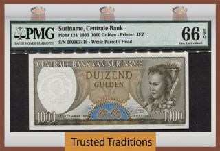 Tt Pk 124 1963 Suriname Centrale Bank 1000 Gulden Pmg 66 Epq Gem Uncirculated photo