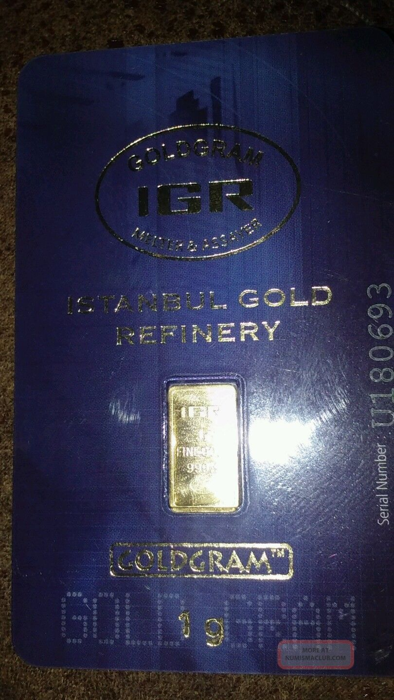 1 Gram Istanbul Refinery Gold Bar.  9999 Fine Bars & Rounds photo