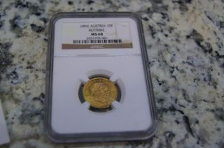 1892 Austria 10f Gold Coin Ms68 photo