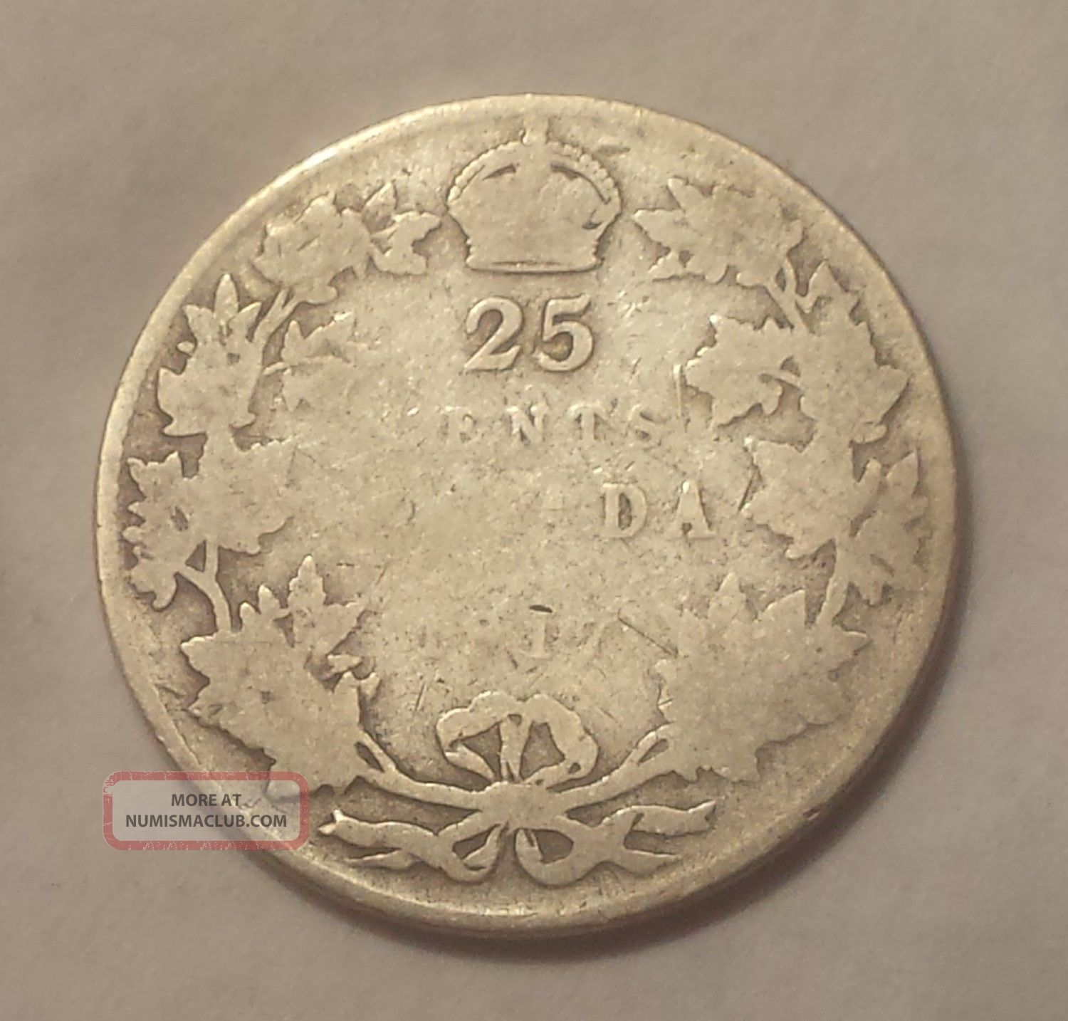 1917 Canada 25 Cents Coin (92.  5 Silver) - King George V Coins: Canada photo
