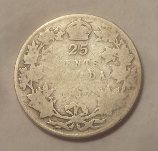 1917 Canada 25 Cents Coin (92.  5 Silver) - King George V photo