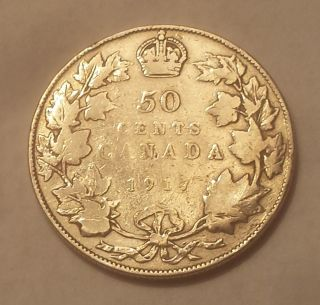1917 Canada 50 Cents Coin (92.  5 Silver) - King George V photo