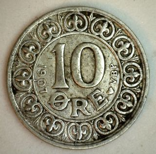 1907 Silver Denmark 10 Ore Coin Currency Xf photo