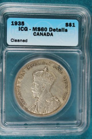 Canada - 1935 - Silver Dollar - Icg Ms 60 Details B6457 photo