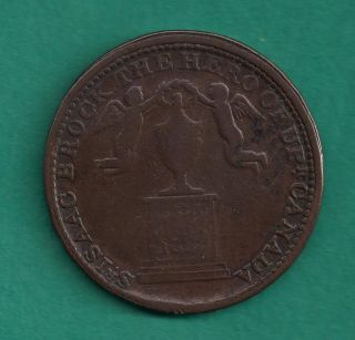 1816 Upper Canada Sir Isaac Brock Halfpenny Monument (1812) Token Breton 724 photo