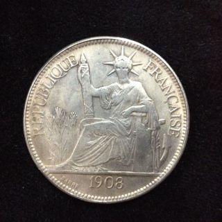 Republique Francaise 1908 Indo - Chine Francaise Titre 0.  900.  Poids 27 Gr Old Coin photo