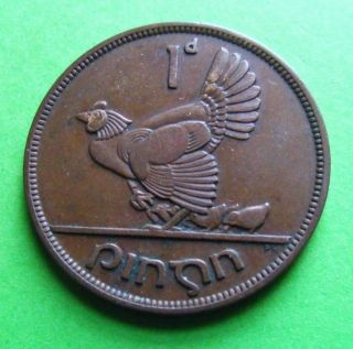 Scarce Irish One Penny Coin Minted 1940 - Ireland - Rarest Year Issued - Hen photo