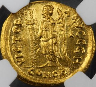 Gold Solidus Ad474 - 491 Zeno Ms Mintstate Uncirculated Ngc Luster Clipped photo