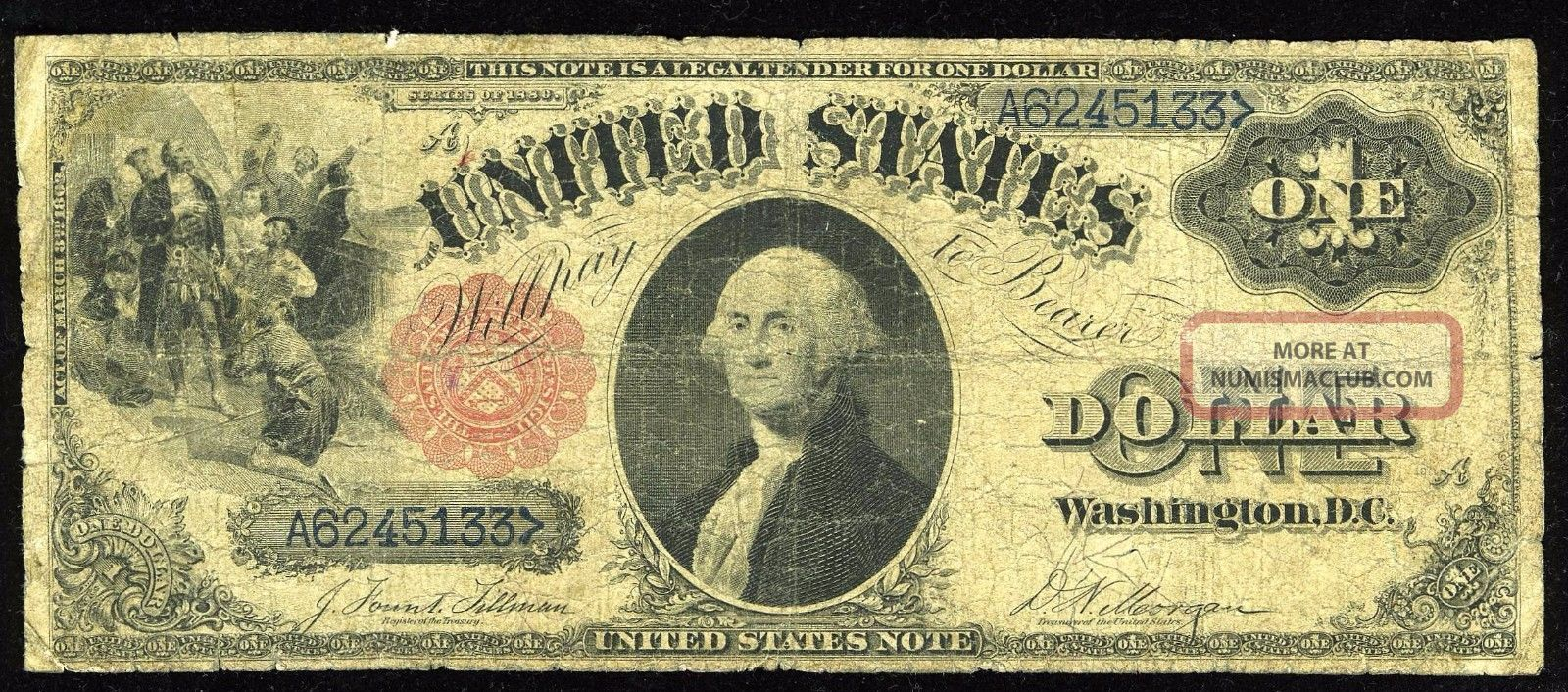 1880 $1 Fr - 35 Legal Tender Note - - - Low Grade Large Size Notes photo