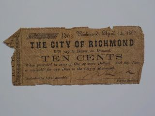 Civil War Confederate 1862 10 Cents Note Richmond Virginia Paper Money Currency photo