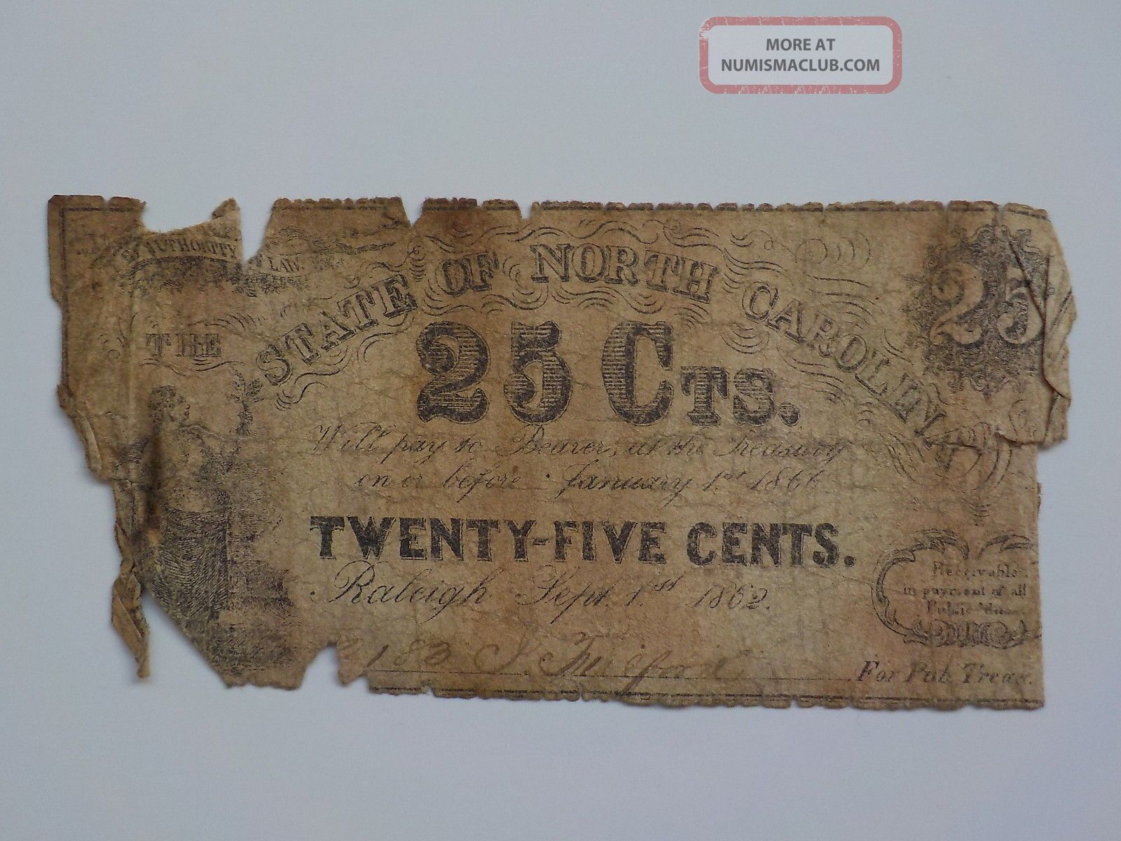 Civil War Confederate 1862 25 Cents Note Raleigh North Carolina Paper Money Nc N Paper Money: US photo
