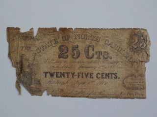 Civil War Confederate 1862 25 Cents Note Raleigh North Carolina Paper Money Nc N photo