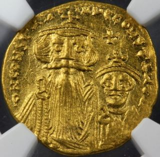 Gold Solidus Ad654 - 668 Constants Ii,  Constants Iv Ms Mintstate Uncirculated Ngc photo