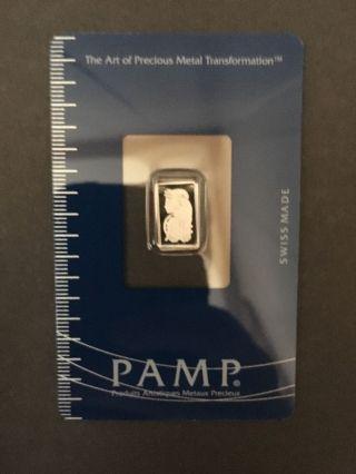 1 Gram Pamp Suisse Platinum Bar.  9995 Fine photo