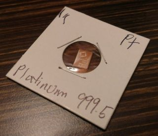 Platinum 1 Gram Bar Valcambi Sa Suisse 999.  5 Pure Platinum Bar photo