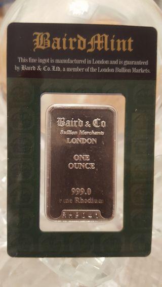 Rhodium,  1 Troy Oz,  1oz,  999,  Baird,  In Package photo