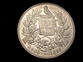 1894 H Guatemala 4 Reales Silver Coin Looks Au Km 168.  1 photo
