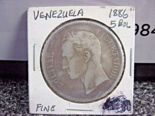 1886 Venezuela 5 Bolívares.  900 Silver Coin photo