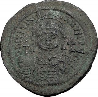 Justinian I The Great 527ad Follis Large Authentic Ancient Byzantine Coin I58245 photo