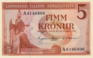 Banknote Sedlabanki Islands Iceland 5 Kronur 1957 Gem Unc photo